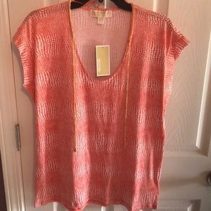 New Michael Kors sleeveless gold chain top large
